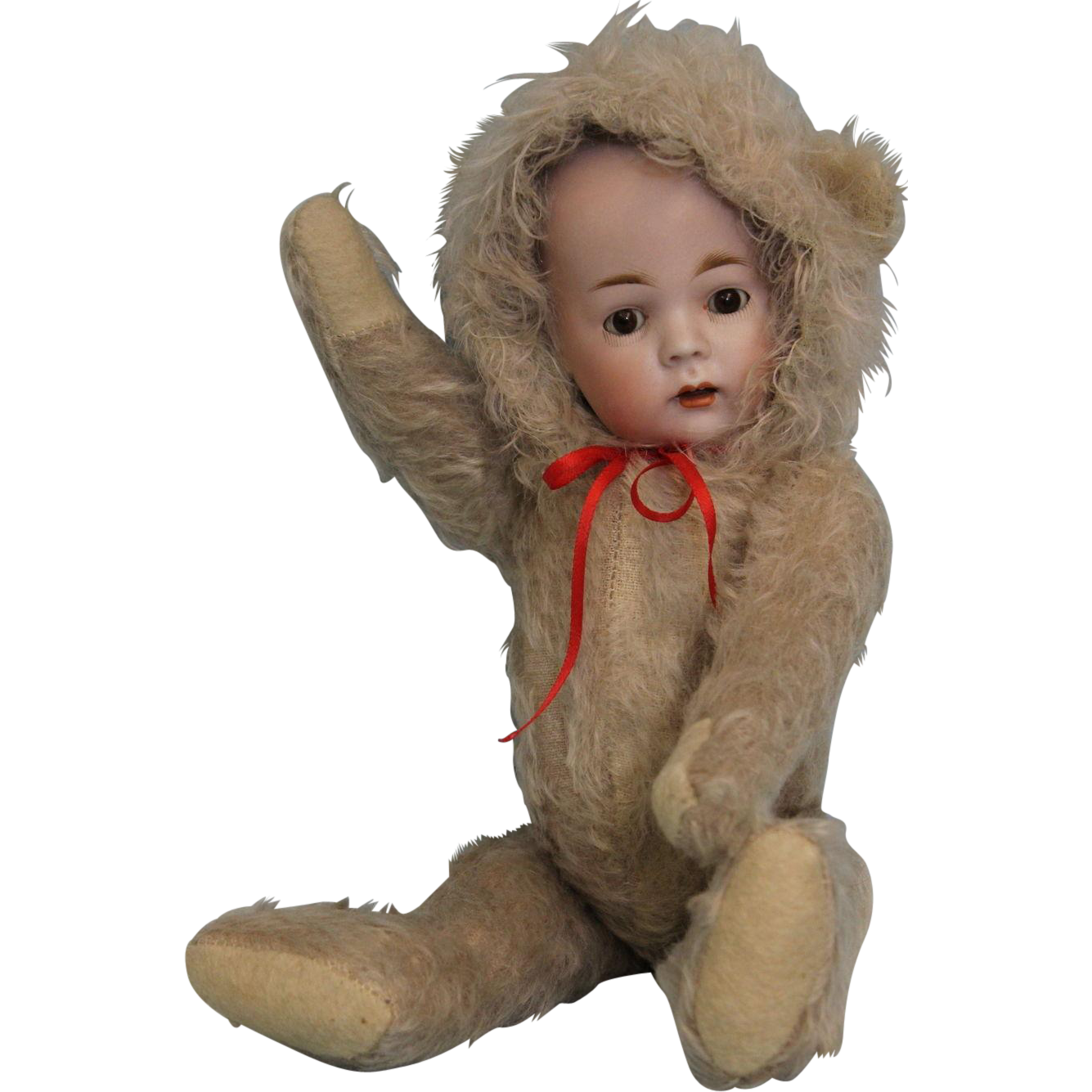 "Antique 12.5"" Konig & Wernicke German Bisque Doll in Early mohair Teddy Bearsuit"