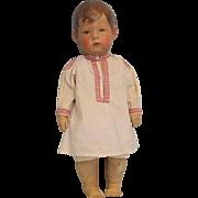 "Early 17"" Cloth Kathe Kruse Doll I Signed on Foot Beautiful Boy Doll c.1915"