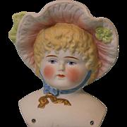 "4-1/2"" Antique Hertwig Parian Bonnet Head Hat Doll Painted Blond hair blue eyes"