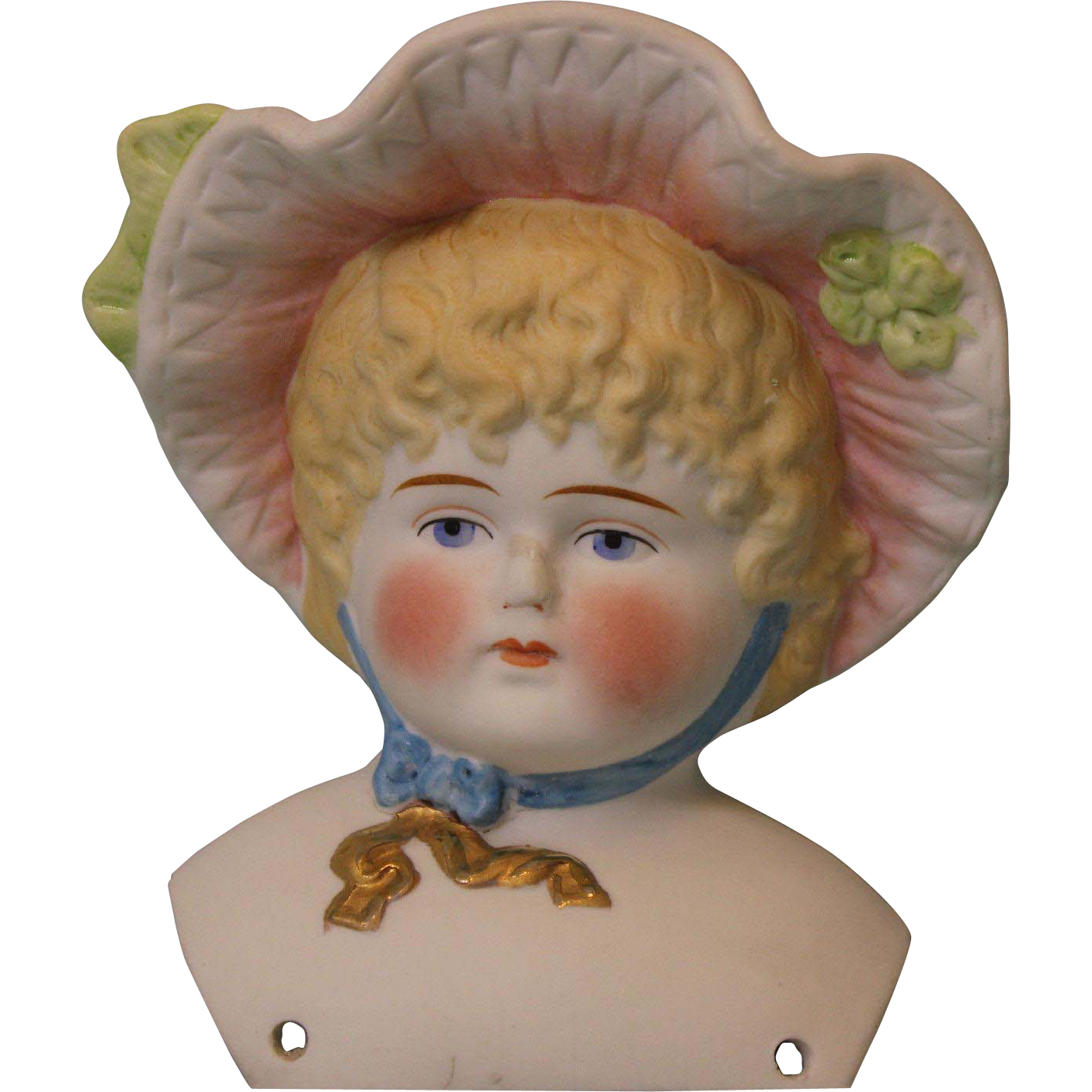 "4-1/2"" Antique Hertwig Parian Bonnet Head Hat Doll Painted Blond hair blue eyes"