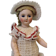 "7"" Antique German Bisque Doll Little Girl with Molded Boots Flange Neck Maker?"
