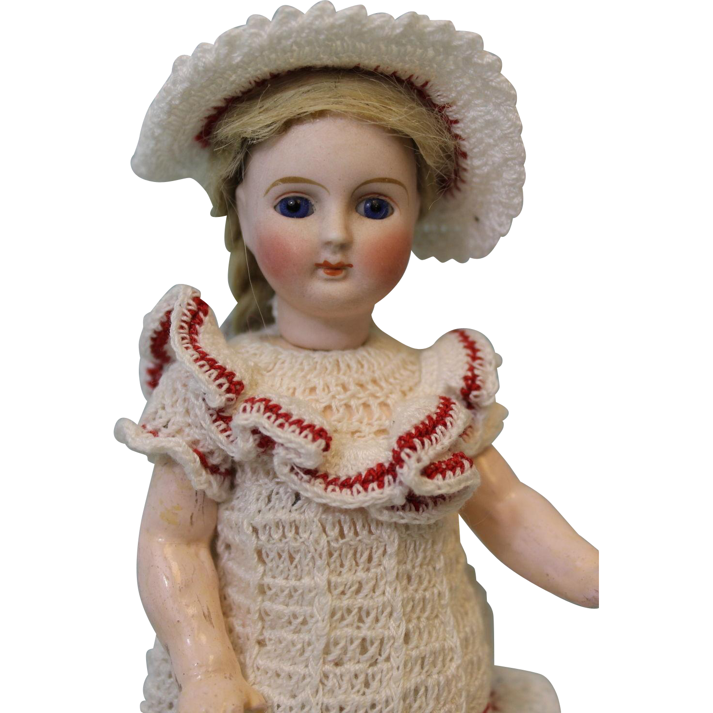"7"" Antique German Bisque Doll Little Girl with Molded Boots Flange Neck Maker?"