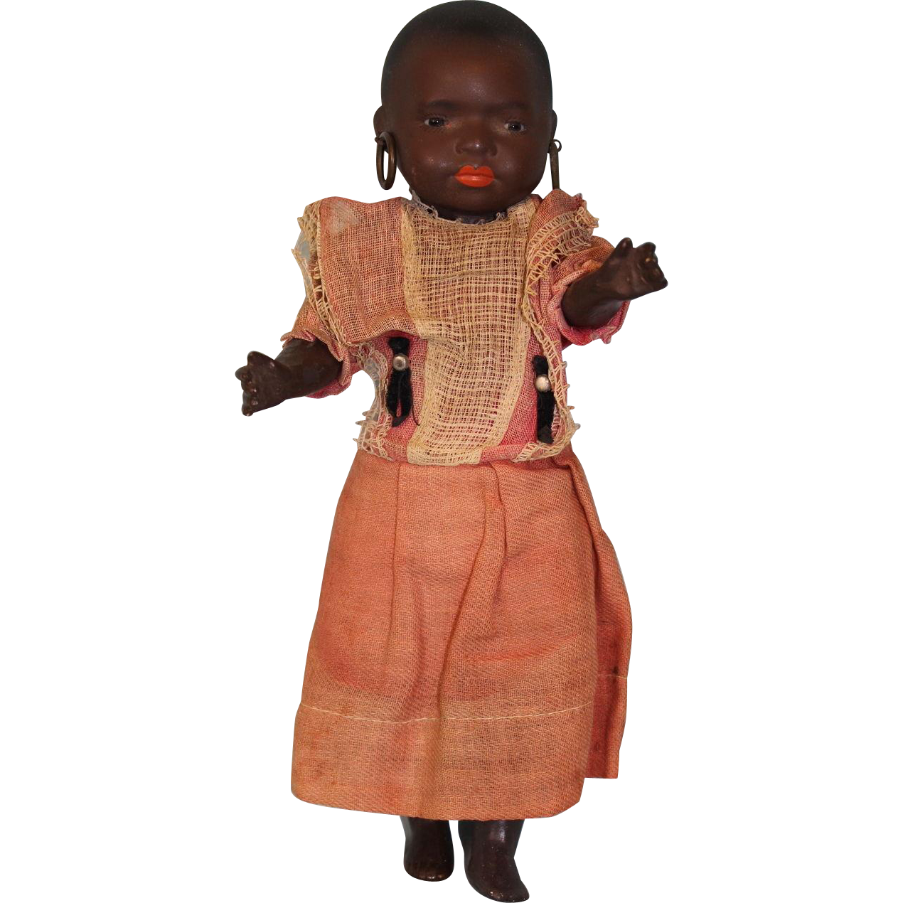 "Antique 10"" 39915 Heubach Koppelsdorf Black South Seas Island Baby Doll c.1910"