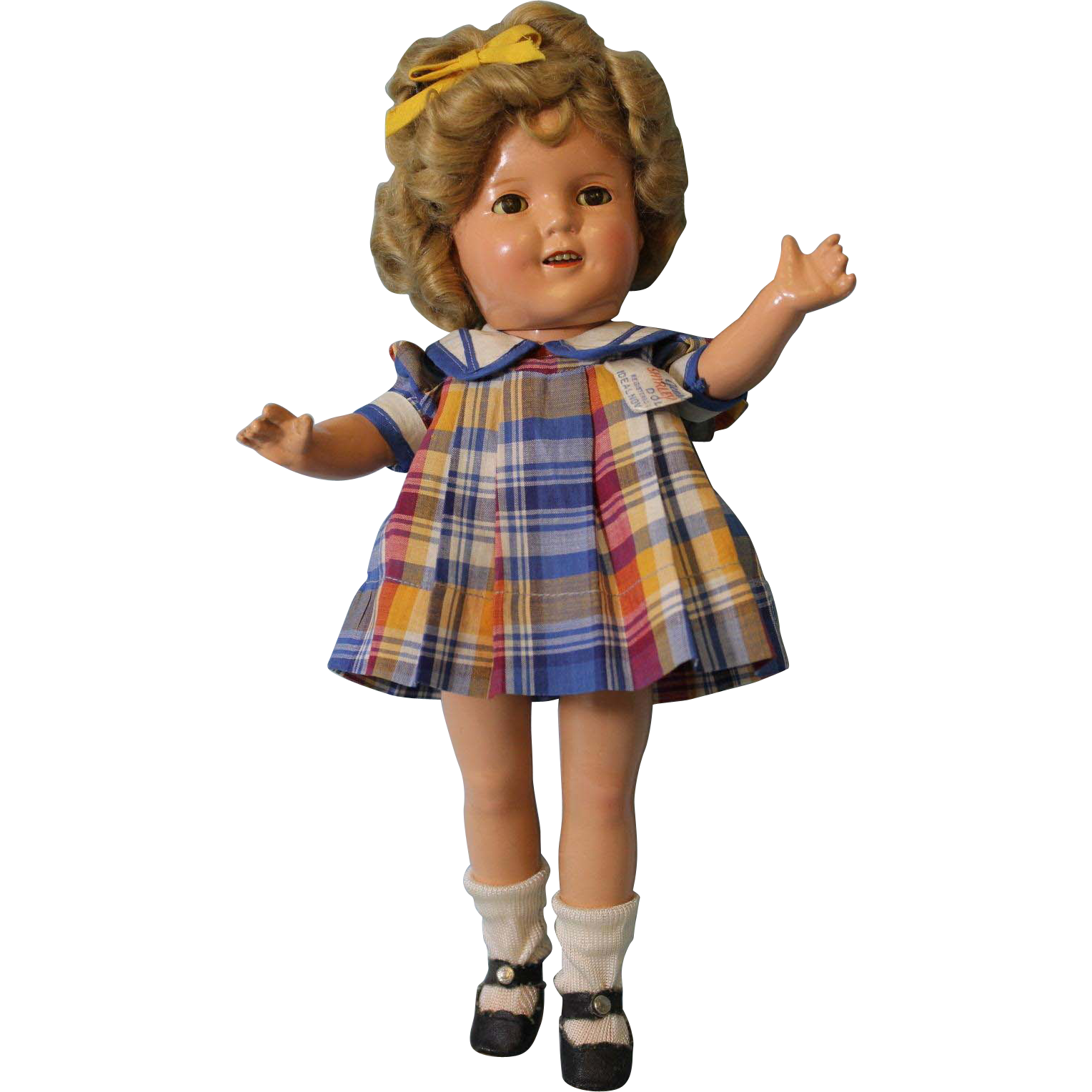 "Ideal 13"" Shirley Temple in Original ""Bright Eyes"" Tagged Plaid Dress c.1934"
