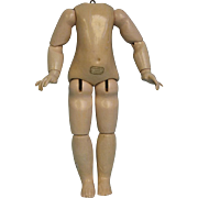 """10"""" French Body with Au Nain Bleu Paper label Put any French Doll head on Body"""