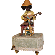 Antique Automaton 15 inch tall Black bisque boy Playing Guitar Music Stand,Music