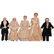 Antique-5-inch-bisque-head-Doll-house-dolls-Dad-Mother-Grandma-Grandpa-child-Dressed