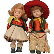 "Pair 8"" pre Ginny Toddles Cowboy & Cowgirl HP Painted Eye Dolls Orig. Clothes"