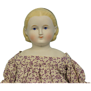26 inch Antique ABG Blond Parian Alice doll Painted headband Antique cloth body