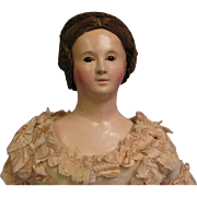 21 inch Antique FRENCH PAPIER-MÂCHÉ c1850 LADY Original Glass Eyes Human Hair Wig with original Costume