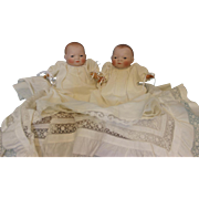 12 inch Antique Bye-Lo Twin Dolls Brown, Blue Eyes German Bisque by Grace S. Putnam