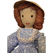 Antique 13-1/2 inch Hand Sewn Cloth Doll Edith Flack Ackley Doll c.1934 Handmade