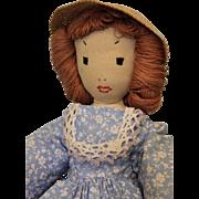 Antique 13-1/2 inch Hand Sewn Cloth Doll Edith Flack Ackley Doll c.1934 Handmade