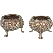 Pair of Footed S. Kirk & Son Footed Repousse Salt Dishes Marked 11oz Antique