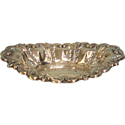 Antique Birmingham Sterling Silver Oval Pierced Dish 8.54 ozt 1902