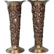 Antique Pair 13 inch Sterling Silver Vases Pierced & Embossed Strawberries 25.75 ozt