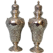 7 inch Antique Sterling Silver Salt, Pepper Chased Fruit, Flowers England 8.65 OZT