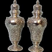 7 inch Antique Sterling Silver Salt, Pepper Chased Fruit, Flowers England 8.65 OZT