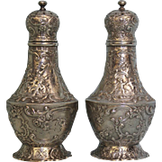 Antique Footed Salt & Pepper Heavy Sterling Silver Marshall Field Floral/Cupid