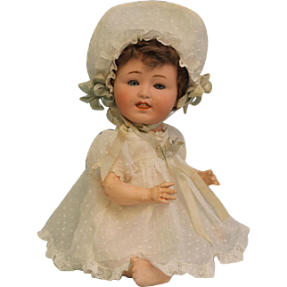 Antique 12 inch Gebruder Heubach 8413 Character Doll With tongue and teeth Ca. 1912