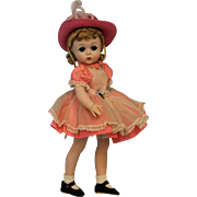 12 inch Lissy Kelly Madame Alexander in Pink Taffeta Dress, Hat & Pinafore 1959
