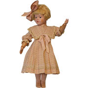 16 inch Antique Schoenhut Wood Doll Girl Character Impressed mark Orig wig, Socks