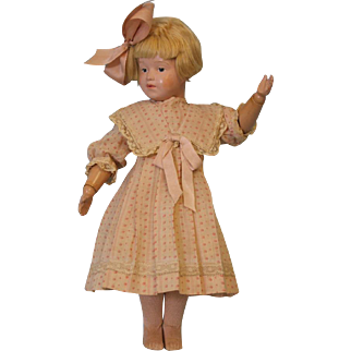 16 inch Antique Schoenhut Wood Doll Girl Character Impressed mark Orig wig, Socks