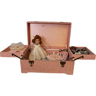Vintage Vogue Ginny Doll 1956 Straight Leg Walker Doll in Bridal Chest Clean