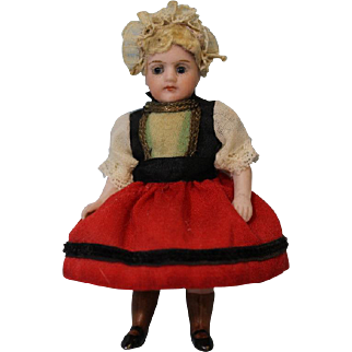 Tiny Antique All Bisque 4 Inch German Doll Marked 191 9 all original