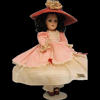 11 inch Compo Scarlett O'Hara Madame Alexander Ca.1937-42 Tagged Red & White Dress
