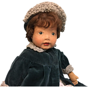 18.5 inch Kamkins cloth doll Atlantic City NJ 1920s Original mohair wig Dressed