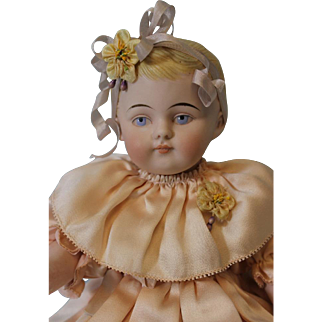 HUGE 13 inch  Antique All Bisque Kling German Doll Barefoot Child Chunky Body c.1890
