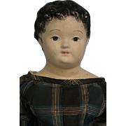 Large 28 inch Antique Papier Mache doll Kid and Wood Body Antique Silk Dress 1830-40