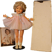 Early 21 inch 1936 Ideal Shirley Temple Doll w/ box and picture, original & tagged