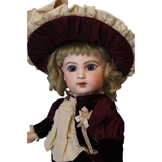 Antique 13.5 inch EJ Jumeau French Bisque Doll Beautiful Costume c.1886 Blue Pwights