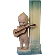 Antique Bisque 5.25 inch Rose O'Neill Kewpie with Guitar Bud Vase ca. 1913