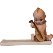 Antique Rose O'Neill Place Card Ca.1913 Bisque Kewpie Sitting Playing Mandolin
