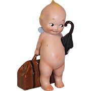 4.75 inch  Antique German Bisque Rose O'Neill Kewpie Traveler w/Suitcase & Umbrella
