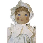 Antique 30 inch Early Babyland Rag Cloth Doll Hand Painted Face 1903 Provenance