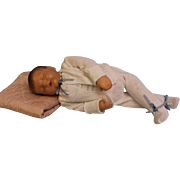 "19 inch Sleeping ""Traumerchen"" Kathe Kruse Sand Baby Doll circa 1940s Feels Real when you hold the doll!"