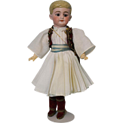 12 inch  Antique Molded hair German bisque Boy  doll Original Greek Guard costume