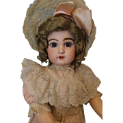Antique 28 Inch Size 13 French Tete Jumeau Bebe Doll closed mouth with Straight Wrists c.1890