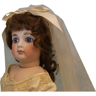 22 inch German Bisque Mystery Bride Doll Belton Look Marked 9 Beautiful Body