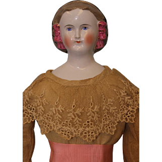 Unusual 21 inch German Blonde Porcelain China Lady Doll Snood & Pink Hair Bows c1865