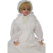 19 inch Antique poured wax doll stamped Mrs Peck 131 Regent London Circa 1893-1908