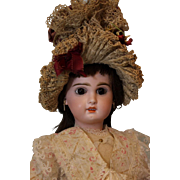 Antique 18 inch Tete Jumeau French Doll Stamped Exquisite bonnet O/M Human Hair Wig