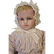25 inch Poured Wax doll Stamped Hamley's, Blond inserted Hair Antique clothes 1865
