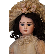 26 inch Tete Jumeau 1886 Closed Mouth doll Orig label body Blue pwt eyes H Hair wig