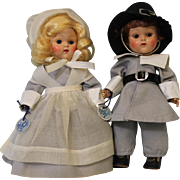 "TWO 8 inch Vogue Ginny Doll Pilgrim Priscilla & John Alden ""Frolicking Fables""Series"