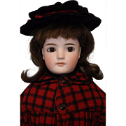 Antique 20 inch Solid Dome German Bisque Closed Mouth Mystery Girl Doll circa 1885